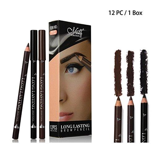 12 PC Waterproof Black Brown / Dark Brown Ultra Fine Eyebrow Eye Brow Definer Color Pencil Set (Brown)