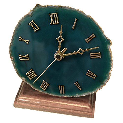Decorative Agate Desk Clock With Gold Plated Rim (Green) (Agate Clock)
