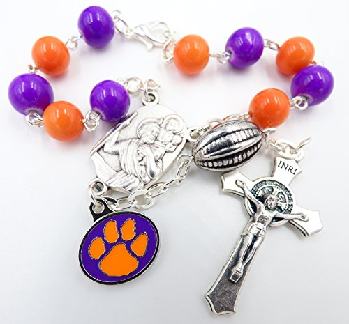 (Single Decade St. Christopher Sports Team Auto Rosary - Clemson University Tigers NCAA Catholic Rosary Beads)