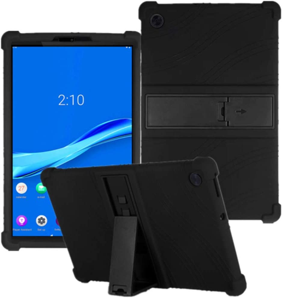 """HminSen Case for Lenovo Tab M10 FHD Plus TB-X606F TB-X606X 10.3"""" Kids Friendly Soft Silicone Shockproof Protective Adjustable Stand Cover for Lenovo Tab M10 Plus 10.3 inch (Black)"""