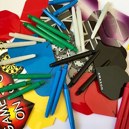 30 Assorted Standard Dart Flights + 30 Mixed Size Stems Variety of Makes...