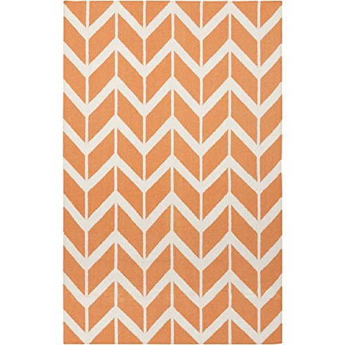 Surya Jill Rosenwald by Fallon FAL-1081 Flatweave Hand Woven 100% Wool Papaya 2' x 3' Geometric Accent (Fallon Wool Rug)