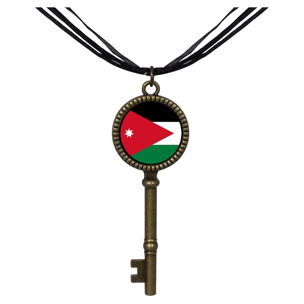 GiftJewelryShop Bronze Retro Style Jordan flag Jewelry Vintage Key Pendant Charm Necklaces