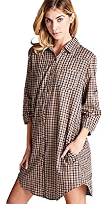 JODIFL Women's Brown Plaid Chic 3/4 Sleeve Casual Shirt Dress Shirtdress