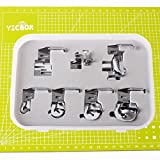 """YICBOR 7-8"""",5-8"""",3-8"""",1-4"""" Wide Rolled Hem Hemmer Foot & Binder Foot & Edge Stitcher Sewing Foot - Fits All Low Shank Domestic Sewing Machine"""