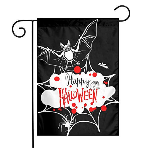 MOCHNO Decorative Garden Flags Happy Halloween Message Small Flag for Yard Outdoor Decorations 12 X18 Inches