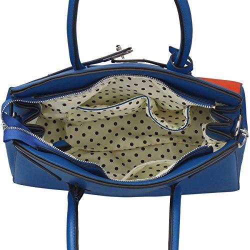 Xardi Londra grande da donna in finta pelle da donna borsa a tracolla a tracolla borsa tote lucchetto nuovo Blue/Orange