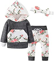 Pawzbay Baby Girls Clothes Long Sleeve Flowers Hoodie Tops and Pants Outfit Set with Pocket Headband