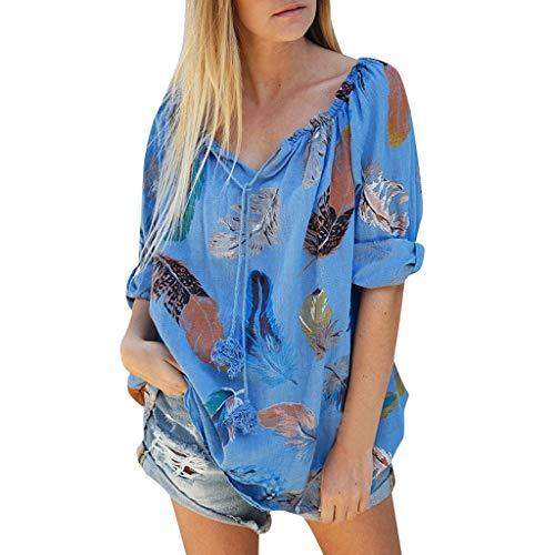 Cotton Linen Jacquard Blouses Top T-Shirt,Londony Women's Plus Size 3/4 Sleeve Loose Cotton Linen Top Shirt Dress Blue