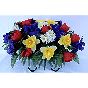 Spring Tulip Daffodil and Iris Headstone Saddle for Grave Decoration 75