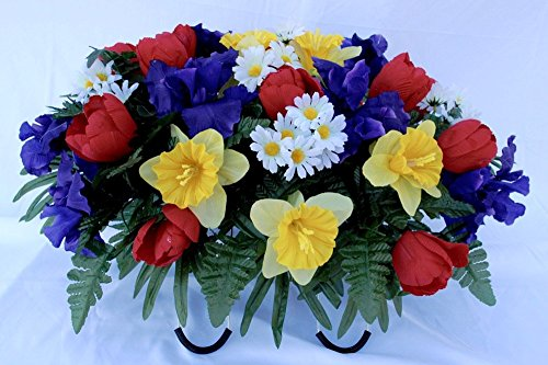 Spring Tulip Daffodil and Iris Headstone Saddle for Grave Decoration