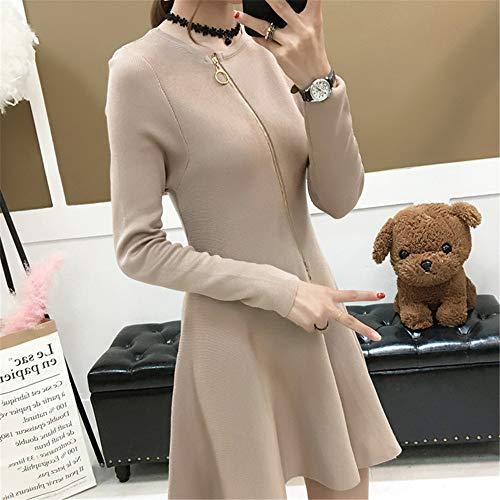 Manga Mujer Vestido De Delgado Una Caqui Adelgazamiento Grande Temperamento Cálido Larga Suéter Suéter Shirloy IqSZTwCp