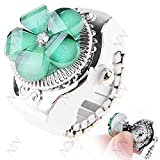 Creative Quartz Watch Ring Watch Timepiece with Flower Style for Lady - Color Assorted
