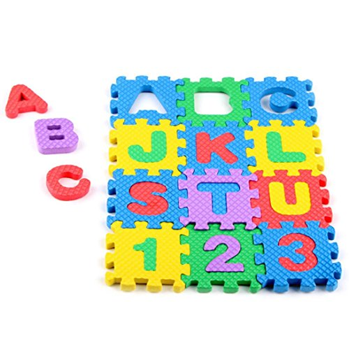 Sunsee Mini 36pcs EVA Puzzle Kid Toy Alphabet Letters Numeral Foam Mat Education Toys (Alphabet Photo Puzzles)