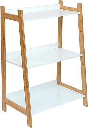 ZXY 3-Tier Escalera Estante para Libros,Bambú Multiusos Estante de la Flor Estante de exhibición Espesado Organizador de Almacenamiento para hogar u Oficina-A 60x38x84cm(24x15x33inch): Amazon.es: Hogar