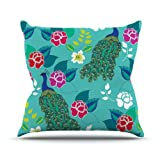 Kess InHouse Anneline Sophia ''Mexican Peacock'' Teal Rainbow Outdoor Throw Pillow, 18 by 18-Inch