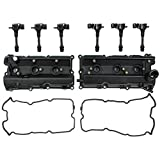 #8: Left & Right Engine Valve Cover w/ Gasket & Ignition Coil Set For Nissan 350Z Infiniti FX35 G35 M35 3.5L DOHC