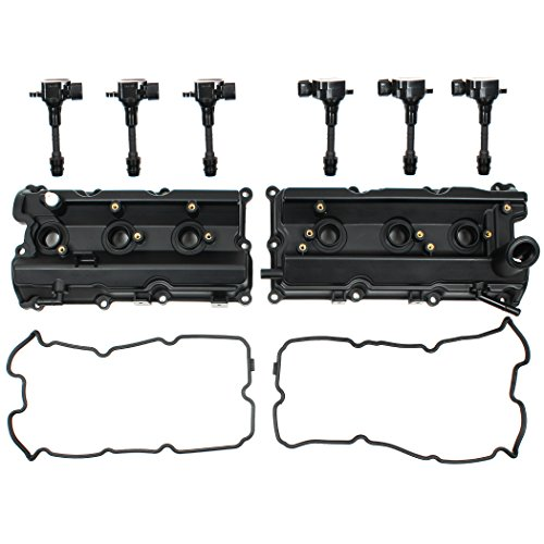 Left & Right Engine Valve Cover w/ Gasket & Ignition Coil Set For Nissan 350Z Infiniti FX35 G35 M35 3.5L - Cover Engine Left