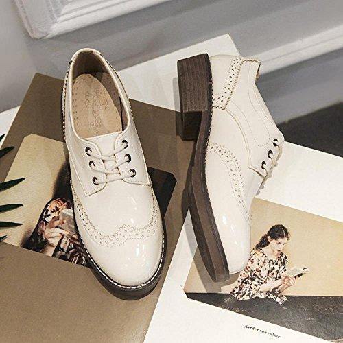 COOLCEPT Mujer Casual Brogue Zapatos Clasico Oxford Bombas Zapatos Encaje Beige