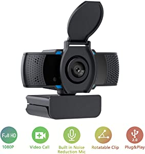 1080P Webcam with Microphone Plug and Play Wide Angle Camera with Privacy Cover Desktop Laptop Computer USB PC Web Camera for Zoom, Video Streaming, Conference, Gaming, Online Classes