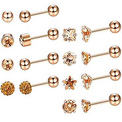 2f681757e Milacolato Stainless Steel Stud Earrings Cubic Zirconia Round Ball Studs  Barbell Earring Set Helix Piercing for Tragus Cartilage Ear,8 Pairs:  Amazon.co.uk: ...
