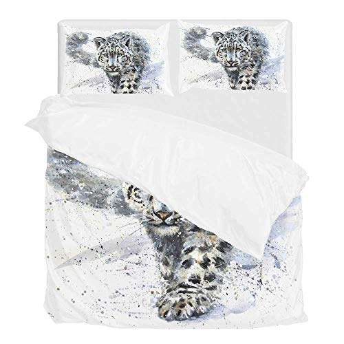 (Vantaso Bedding Sets Queen Full Snow Leopard 1 Duvet Cover Set with 2 Pillow Shams 3PCS for Bedroom)
