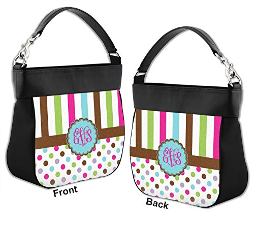 Front Hobo Personalized Leather amp; Trim Purse Stripes w amp; Genuine Back Dots qZ8pB