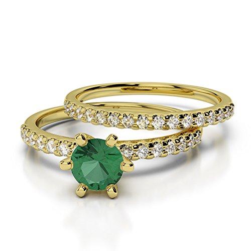 Or jaune 18carats 0,50CT G-H/VS sertie de diamants ronds découpé Émeraude et de mariage Bague de fiançailles et ensemble de Agdr-1145