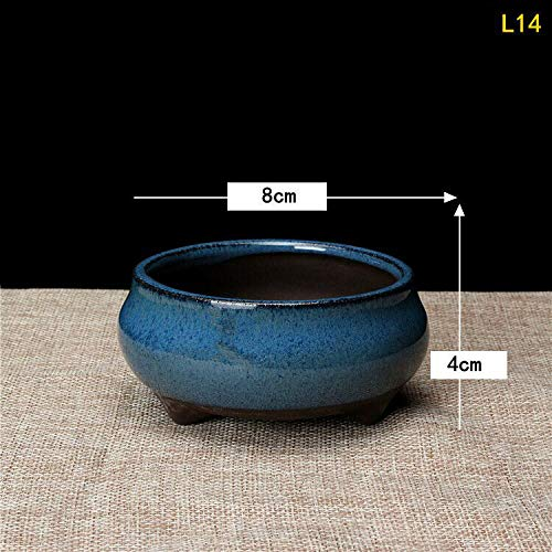 [해외]NATFUR Mini Ceramics Chinese Bonsai Flower Pot Round Dark Green Glazed for Succulents | Color - L14 / NATFUR Mini Ceramics Chinese Bonsai Flower Pot Round Dark Green Glazed for Succulents | Color - L14
