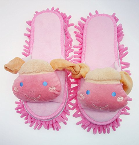 Selric Cute Goat Microfiber Floor Cleaning Slippers Open Toe Slippers Pink, Detachable Lazy Housekeeper Dust Cleaning Mop Shoes 9 7/9