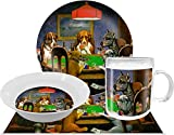 Dogs Playing Poker 1903 C.M.Coolidge Dinner Set - 4 Pc