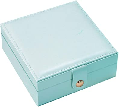 BlueCosto - Joyero de viaje pequeño, con cremallera, anillo, pendiente, collar, organizador de piel, mini cajas para mujeres y niñas, para madre e hija: Amazon.es: Equipaje