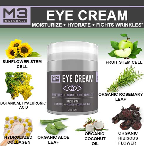 51LJ6mLW2QL - M3 Naturals Eye Cream Infused with Collagen Stem Cell and Hyaluronic Acid for Puffiness Wrinkles Dark Circles Under Eye Bags Fine Lines Anti Aging Treatment Healthy Skin Care Moisturizer