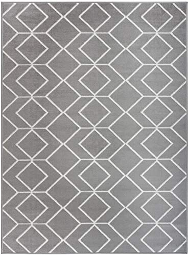 Antep Rugs Kashan King Collection Trellis Polypropylene Indoor Area Rug (Grey/Cream 8' X 10')