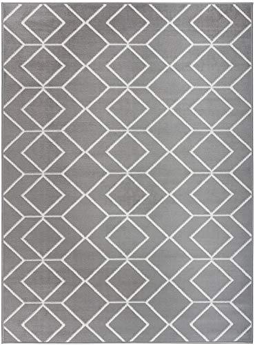 - Antep Rugs Kashan King Collection Trellis Polypropylene Indoor Area Rug (Grey/Cream, 8' x 10')