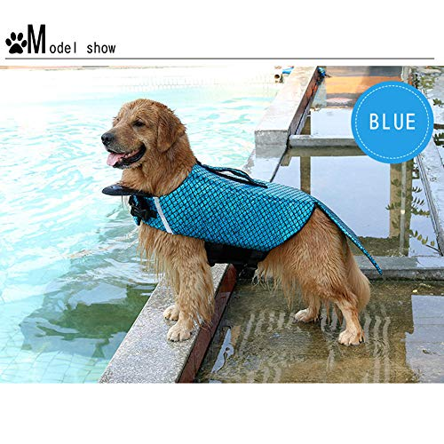 XDYFF Pet Life Jacket, Life Jackets for Dogs, Mermaid Sea-Maid Pet Costume Swimming Clothes Apparel,Blue,XL -