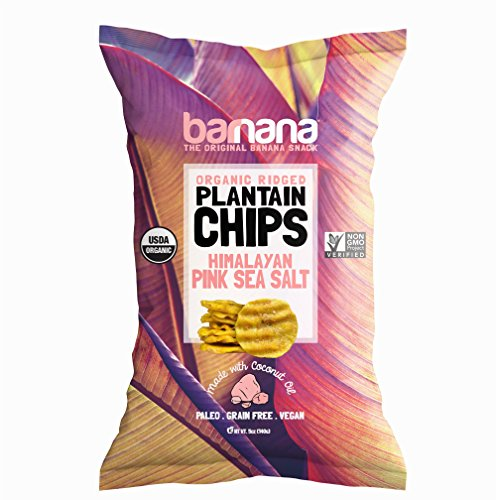 Barnana Organic Plantain Chips - Himalayan Pink Salt - 5 Ounce, 1 Pack Plantains - Barnana Salty, Crunchy, Thick Sliced Snack - Best Chip For Your Everyday Life - Cooked in Premium Coconut Oil