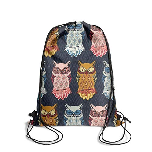Unisex Nightfall Bird Of Night Owl Gym Sports Drawstring Backpack String for Girls Kids Men Women Waterproof Athletic Sinch Sack Bag ()
