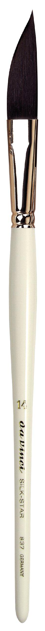 da Vinci Graphic Design Series 837 Silk Star Liner Brush, Slanting Edge Black Ox Hair with White Handle, Size 14 by da Vinci Brushes