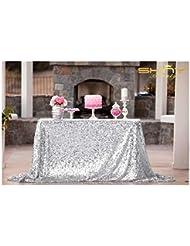 ShiDianYi 50''x72''Silver Sequin Tablecloth, Wedding Table Cloth, Sparkle Sequin Linens, Glitz, Sequin Cake Tablecloth, Sequin Tablecloth (50''x72'')
