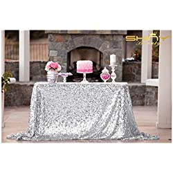 ShinyBeauty 60inx102in Sequin Tablecloth-Rectanglar-Silver-for Wedding/Christmas/Black Friday Party Linen (Silver)