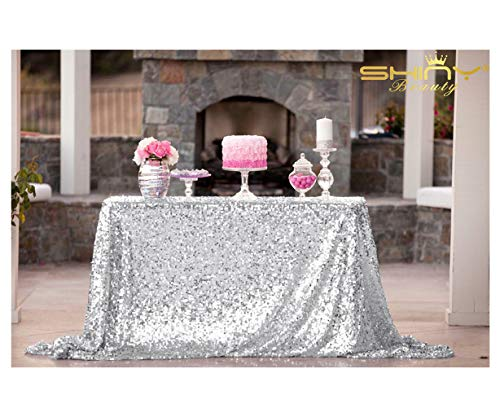 ShiDianYi 50''x72''Silver Sequin Tablecloth, Wedding Table Cloth, Sparkle Sequin Linens, Glitz, Sequin Cake Tablecloth, Sequin Tablecloth (50''x72'') (Blue Zebra Party Supplies)