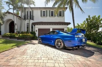 Toyota Supra Single Turbo Left Rear Blue on 360 Forged wheels HD Poster 18 X 12