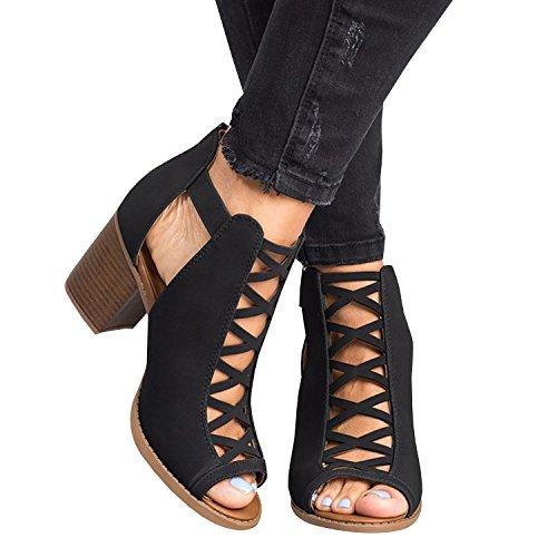 Fashare Womens Open Toe High Block Heel Pump Sandals Criss Cross Buckle Strap Booties Shoes (Peep Criss Pumps Toe Cross)