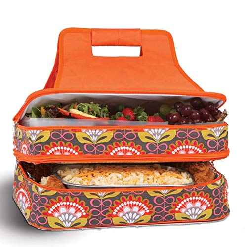 Level Thermal Insulated Hot and Cold Pot Luck Food Carrier with Bonus Containers by Picnic Plus Orange Martini ()