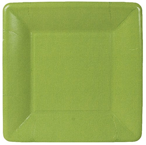 Caspari Entertaining Grosgrain Border Square Salad/Dessert Plates, Moss Green, by Caspari