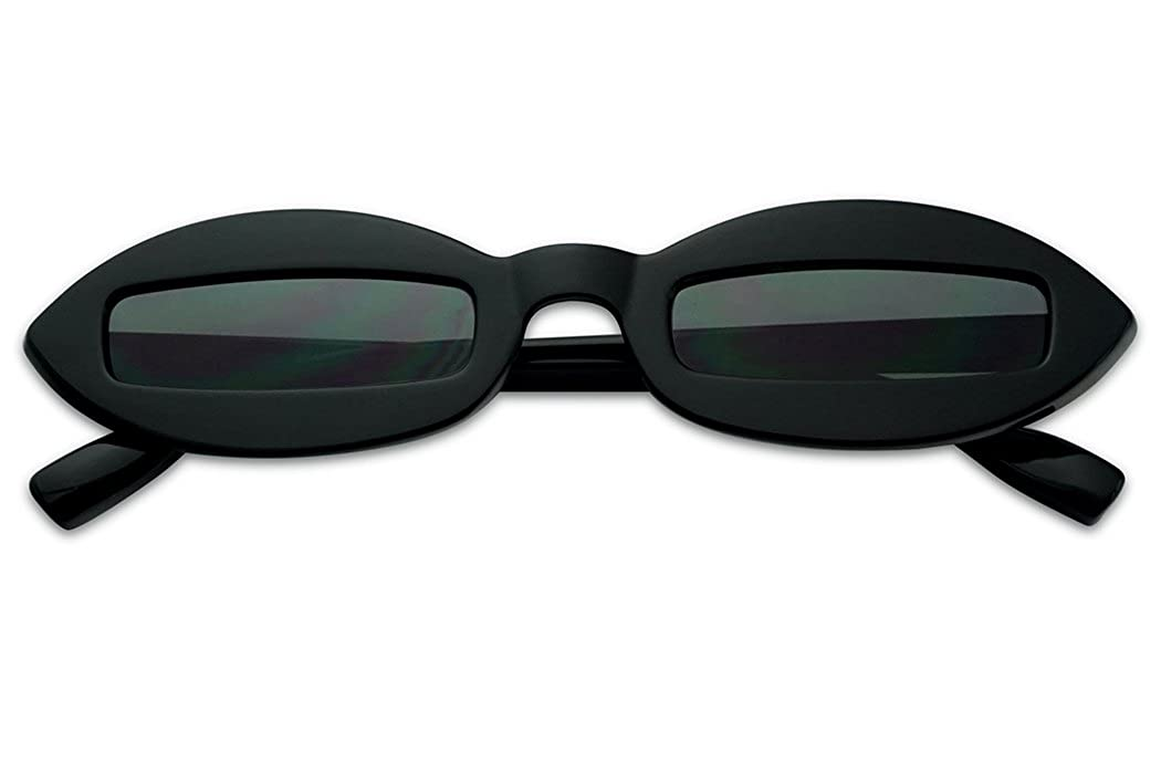 SunglassUP Small Narrow Pointed Oval Clout Cut Out Lens Sunglasses Bad Bunny Style Goggles