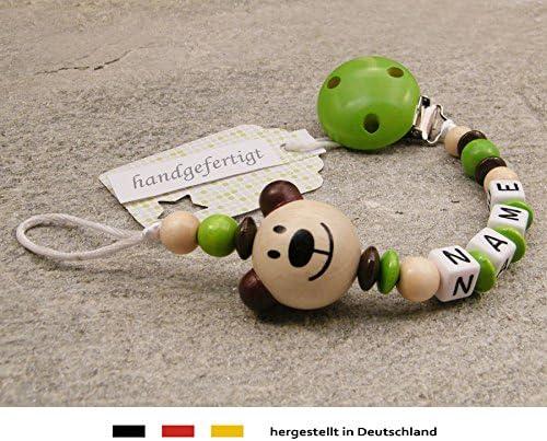 M/ädchen Jungen Motiv B/är in Natur gr/ün Schnullerhalter mit Wunschnamen kleinerStorch Baby SCHNULLERKETTE mit Namen