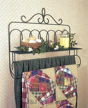 Wall Victorian Quilt Rack with Shelf Made of Druable and Solid Wrought Iron in Usa In Black Color Saving Space and Easy Reach by eCom Fortune