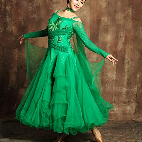 Le Da Costumi Concorrenza Moderna s Tango Donne Ballo Valzer Green Swing Per Abiti Xl Grande Gonna Performance Flamenco Danza Wqwlf Vestire cEWIqpW